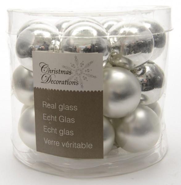 Mini-Weihnachtskugeln aus Glas 24er-Set - silber (Durchmesser 2,5 cm)
