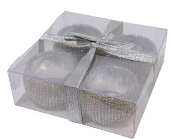 Serviettenringe mit Glasperlen 4er-Set (11,5 x 4 cm)