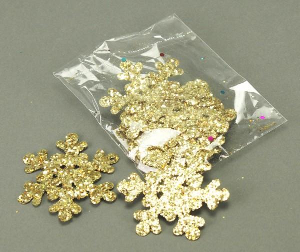 Schneeflocke mit Glimmer 12er-Set (6 cm) gold