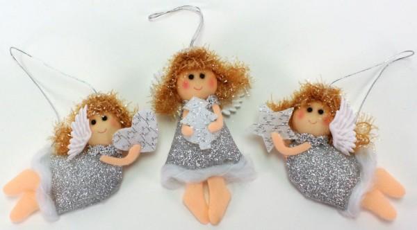Anhänger Engel aus Glitzer-Stoff (5,5 x 11,5 cm)