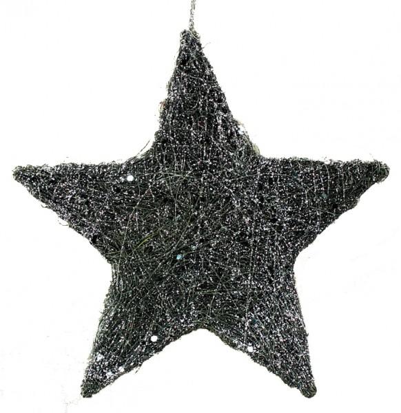 Sisal-Stern mit Glimmer Maxi (20 cm) - anthrazit
