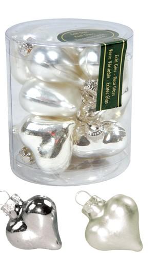 Mini-Glasherzen glanz/matt 4 cm (12 Stück) silber