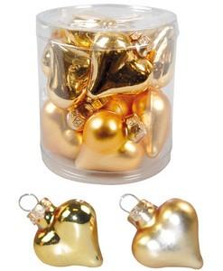 Mini-Glasherzen glanz/matt 4 cm (12 Stück) gold