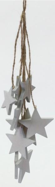 Sterngirlande aus Sperrholz braun/weiß (Länge: 34 cm)