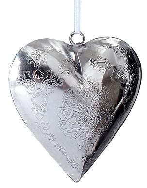 Hänger Herz aus Metall mit Stanzdekor (7,5 cm) - silber