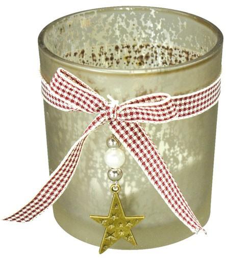 Teelichtglas / Windlicht mit Karoschleife und Sternanhänger (Höhe: 8 cm)