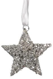 Metall-Stern mit Glitterfinish am Band zum Aufhängen - silber (Durchmesser: 15 cm)