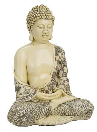 Buddha sitzend, beige mit Verzierung (29 x 22 x 15 cm)